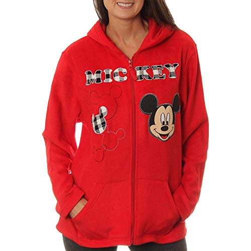 Disney Women's Mickey Mouse Plush Fleece Full Zip Hoodie (S (4-6))]()