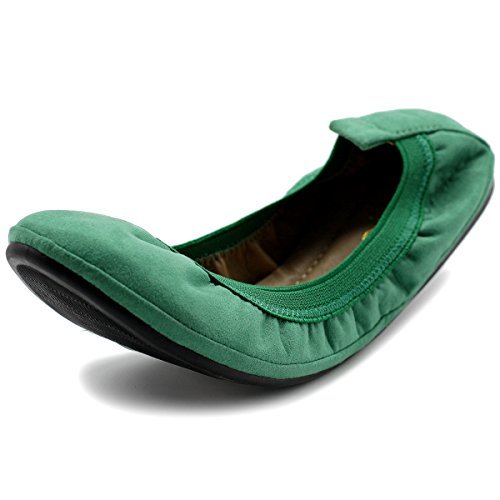 Ollio Women's Shoe Faux Suede Comfort Ballet Flats BN16(9 B(M) US, Green) -