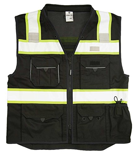 Vest Poly Safety Mesh - ML Kishigo - Black Heavy Duty Safety Vest Size: 2X-large