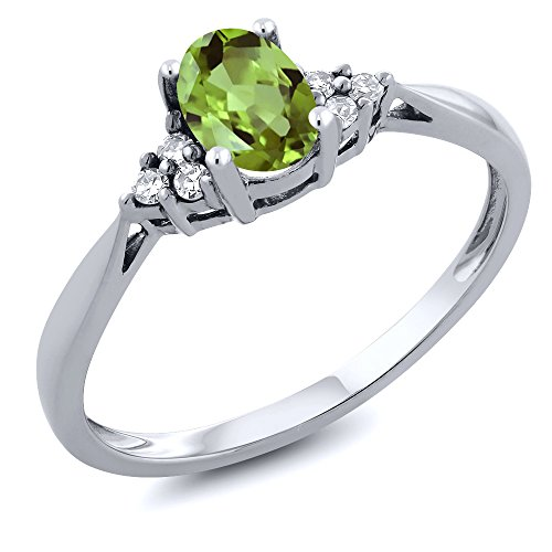 (Gem Stone King 14K White Gold Green Peridot and Diamond Women's Ring 0.56 cttw (Size 6))