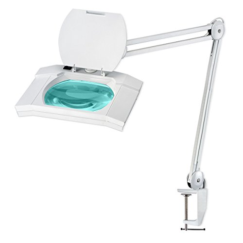 56 SMD LED Desk Clamp Magnifier Lamp - Extra-Large 7-inch x 6-inch Lens - 5-Diopter