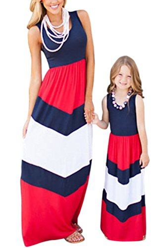 (WIWIQS Summer Cute Monther and Daughter Boho Striped Chevron Maxi Dresses(Red and Blue,L))