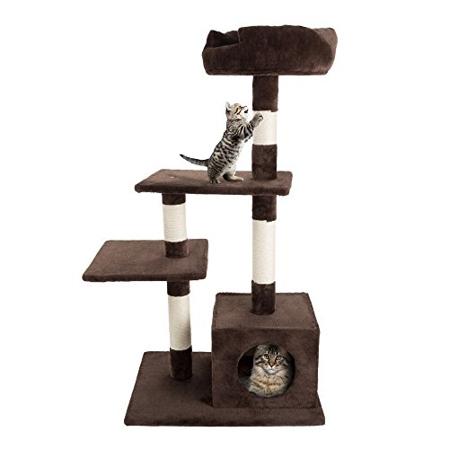 (4 Tier Cat Tree- Plush Multi-Level Cat Tower with Sisal Scratching Posts, Perch Platforms, and Penthouse Condo for Cats and Kittens By PETMAKER (43Â