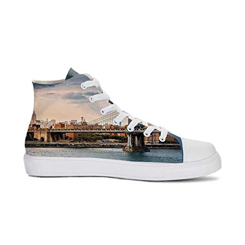 NYC Decor Durable High Top Canvas Shoes,Manhattan Bridge and The New York Skyline at Sunset East River Highrise Buildings Iconic Sites for Men,US 6.5