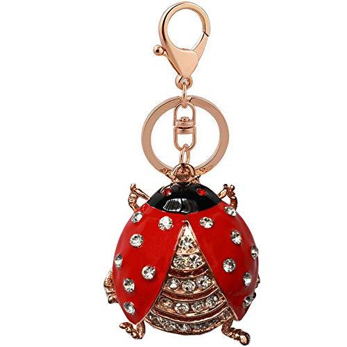 - Bolbove Cute Beetle Ladybug Keychain Sparkling Keyring Rhinestones Purse Pendant Handbag Charm (Red)