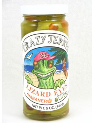 Crazy Jerrys Lizard Eyes Habanero Stuffed Olives, 5 oz