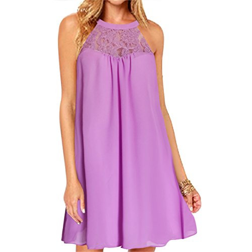 Vanberfia Women's Sleeveless Lace Patchwork Loose Casual Mini Chiffon Dress (XL, 6226)