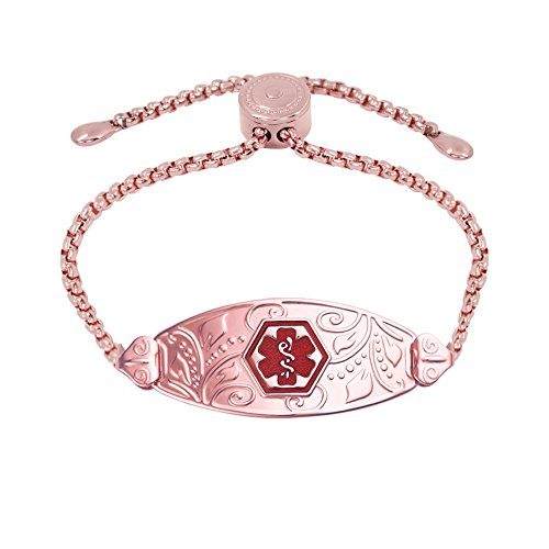 Divoti Deep Custom Laser Engraved PVD Rose Gold Lovely Filigree Medical Alert Bracelet -PVD Rose Gold Easy-on Stainless-TP Red-M