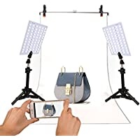 GINSON Photography 132 LED Studio Lighting Kit Adjustable Light Product Photography Video Production for Camera Phones
