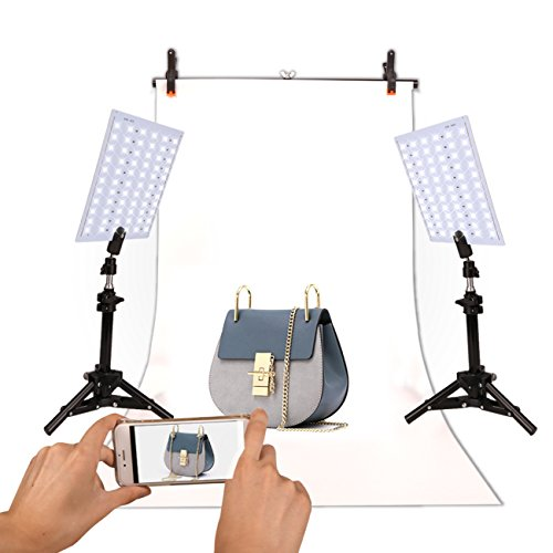 GINSON Photography 132 LED Studio Lighting Kit Adjustable Light Product Photography Video Production for Camera Phones by GINSON