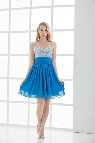 Spaghetti Cocktail Kleid Chiffon Bling BRIDE Blau GEORGE kurzes Buegel Bling q61YUSct