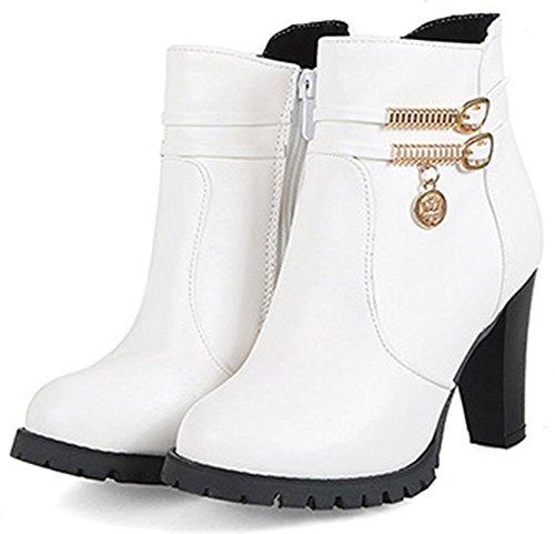 Idifu Donna Dolce Zip Up Punta Alta Tacco Alto Stivaletto Alla Caviglia Con Tacco Alto Alla Caviglia Bianco