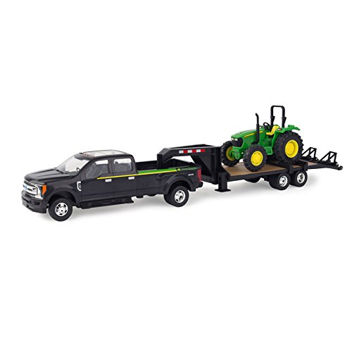 Ertl Ford Pickup with Gooseneck Trailer & John Deere Tractor - Tomy Ford