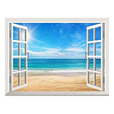 With a Professional Touch, Gorgeous Piece, Removable Wall Sticker Wall Mural Beautiful Summer Seascape and The Beach Creative Window View Wall Decor