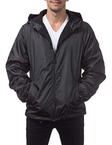 Pro Club Men's Fleece Lined Windbreaker Jacket, X-Large, Black