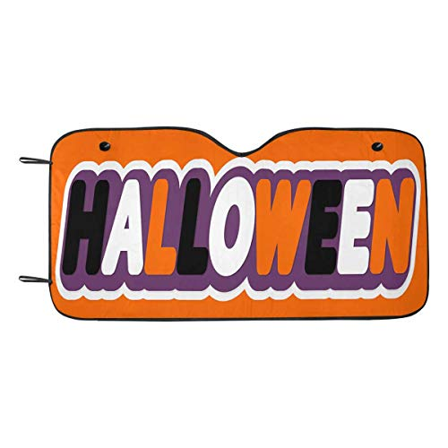 InterestPrint Halloween Words Universal Fit Car Sunshades UV and Sun Protection ()