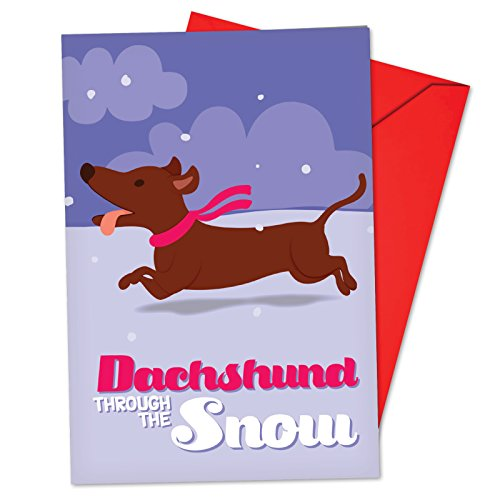 12 'Merry Pets Dachshund Through the Snow' Blank Boxed Christmas Cards with Envelopes 4.63 x 6.75 inch, Cute Weiner Dog Puppy Merry Christmas Card, Happy Holidays with Funny Dog B6737CXSB