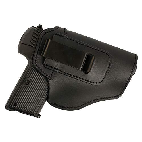 FUNTRESS Leather Holsters for Pistol Concealed Carry Handgun Waistband Gun Holster Belt for Women Men Fit M1911 Glock 17 19 26 43 S&W 9mm .45 Similar Size Models (Black) - Leather Handgun Holsters