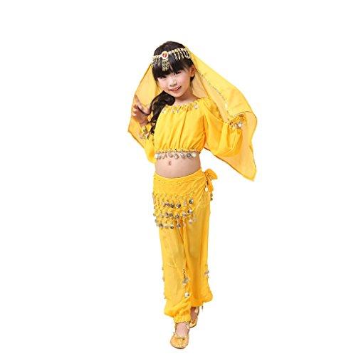 Pilot-trade Kid Best Gift Dancing Suit Girls Lovely Belly Dance Set for Children Yellow (Little Girl Belly Dancing Costumes)