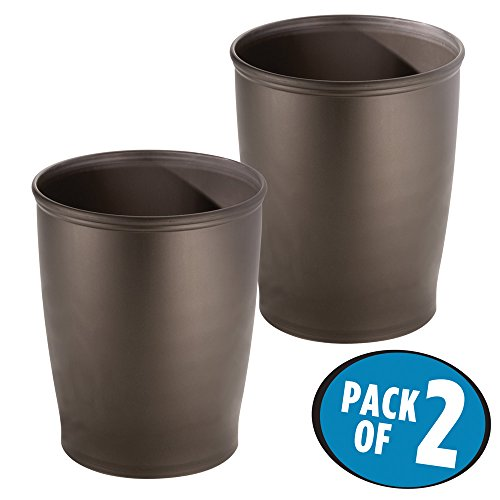 mDesign Round Shatter-Resistant Plastic Small Trash Can Wastebasket, Garbage Container Bin for Bathrooms, Kitchens, Home Offices, Dorm Rooms - Pack of 2, Bronze by mDesign