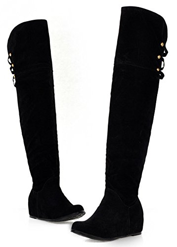 IDIFU Women's Classic Studded Mid Heels Inside Heighten Faux Suede Long Over Knee High Boots