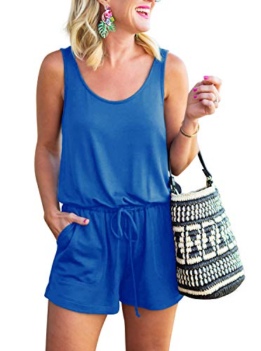 REORIA Womens Casual Summer One Piece Sleeveless Tank Top Striped Playsuits Short Jumpsuit Beach Rompers Royal Blue Large