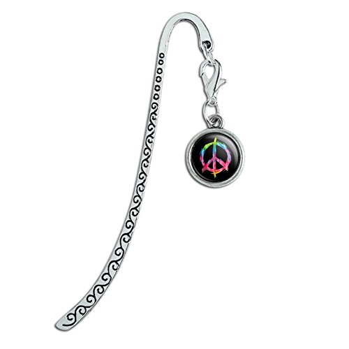 Tie Dye Peace Sign Metal Bookmark Page Marker with Charm
