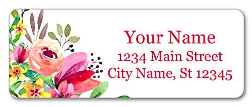 Personalized Return Address Labels - Beautiful Flowers Design - 120 Custom Self-Adhesive Stickers