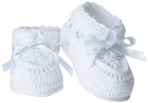 Jefferies Socks Baby-Girls Infant Hand Crochet Bootie, White/Blue, Newborn