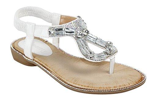 Cambridge Select Mujeres T-strap Crystal Rhinestone Jewel Teardrop Cutout Slip-on Tanga Sandalia Plana Blanco