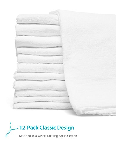 Zeppoli 12-Pack Flour Sack Towels - 31'' x 31'' Kitchen Towels - Absorbent White Dish Towels - 100% Ring Spun Cotton Bar Towels by Zeppoli (Image #1)