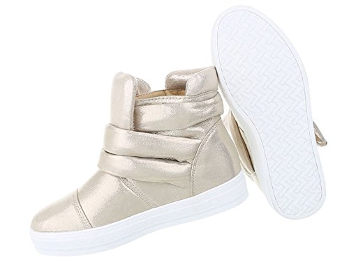 Elegante Damen Sneakers | Sneaker Klettverschluss | Designer Stiefelette | Basketball Style Stiefel | Freizeitschuhe Metallic | Schuhcity24 Gold