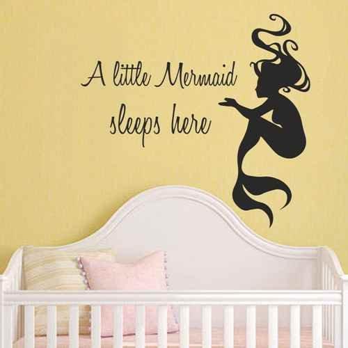 A Little Mermaid Sleeps Here - Mermaid Wall Decal Interior Design Girls Nursery Bedroom Sticker (White,xs)