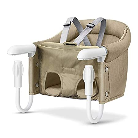 Hook On Chair, Safe and High Load Design, Fold-Flat Storage and Tight Fixing Clip on Table High Chair, Machine-Washable and Avoid Cracking Fabric, Removable Seat Cushion, Fast Table Chair (Khaki) TCBUNNY