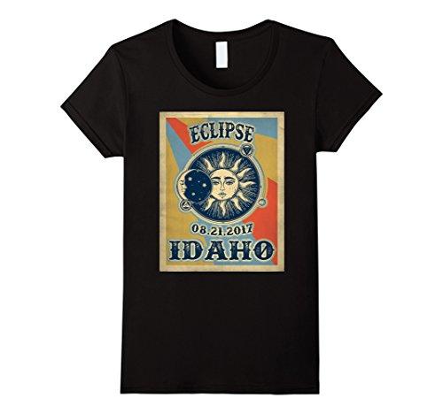 Womens Vintage Solar Eclipse Idaho 2017 Tshirt Large Black