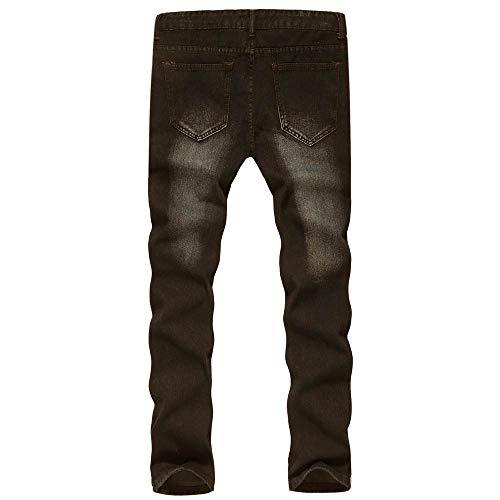 Jeans Nero Pantalone Strappati Denudati Lavoro Casual Denim Uomo Vintage Biker Topgrowth Zip Scala Hop Fit Slim Da Hip Con Pantaloni Hqw4axdx