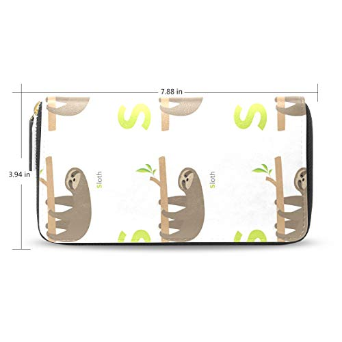 Women Letter Sloth Zoo Alphabet Leather Wallet Large Capacity Zipper Travel Wristlet Bags Clutch Cellphone Bag