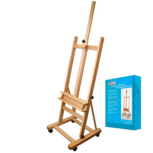 US Art Supply 70 to 96 inch Tall Adjustable Classic Hand-Finished Wood Studio Adjustable H-Frame Artist Easel ()