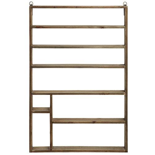 MyGift Vintage Salon Wall Mounted Brown Wood Nail Polish Organizer Storage Shelf Rack/Display by MyGift (Image #1)