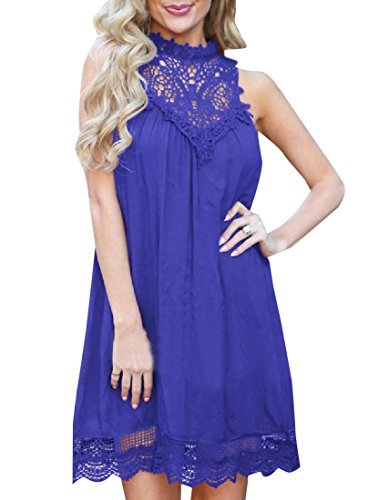 Pure Dress Cocktail Color Patchwork Coolred Women Casual Loose Lace Blue wxq8ft6Z8