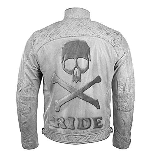 Men's Biker Motorcycle Vintage Distressed White Leather Jacket with Embossed Skull (Medium) (Blazer Route 66)