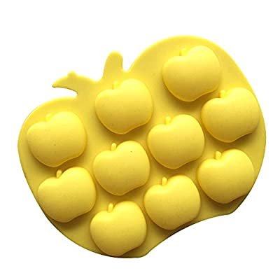 Always Your Chef 10-Cavity Silicone Apples Shaped Chocolate Candy Making Molds, Baking Cups for Jello, Gummy, Cupcake and More, Random Colors