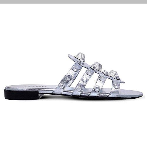 L@YC Zapatos de Mujer Sintético de Verano Sandalias de Otoño Talón Punta Redonda Rhinestone Para el Vestido Casual de Oro Plata Blanco
