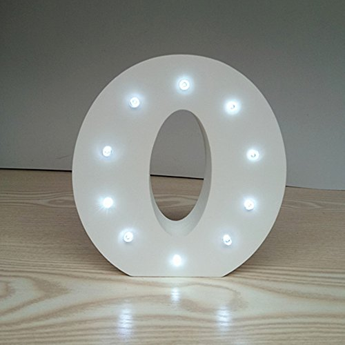 ARTSTORE Decorative DIY LED Letter Lights Sign,Light Up Wooden Alphabet Letter Battery Operated Party Wedding Marquee Décor,Cold White O by ARTSTORE