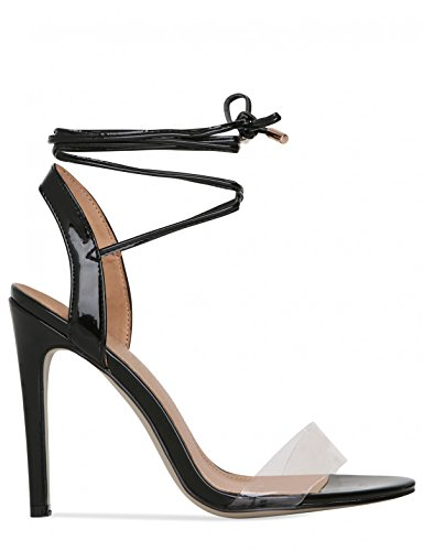 LAMODA Womens Clear Lace up Stiletto Heels in PU Black Patent VkpKx4lHG