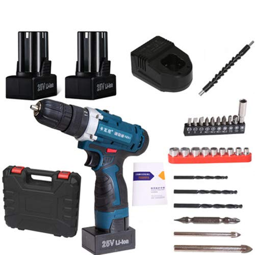 FLB 12V-25v Cordless Drill Charging Screwdriver Home Electric Rechargeable Multi-Function Flashlight Drill,25v2batteryaccessories