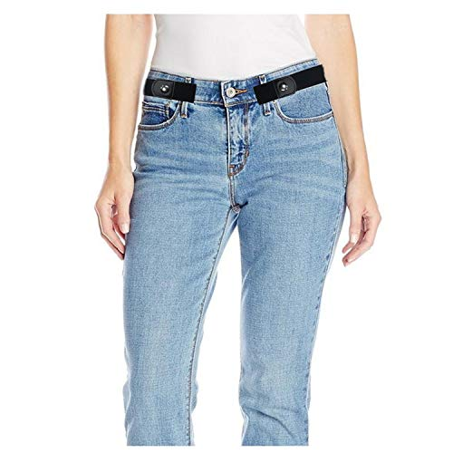 Women Mens No Buckle Elastic Belts for Jeans/Pants Buckle-free No Bulge Stretch Belts Up to Size 54