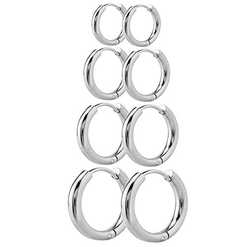 JewelrieShop Men Women Fun Simple Round Design Nickel-free Stainless Steel Hoop Earrings (Fun Sets)