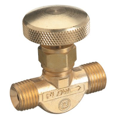 Western Enterprises 205 Non Corrosive Gas Flow Valves  200 Psig  Brass  Oxygen  9 16    18 Rh M   0 5 Length  B Size