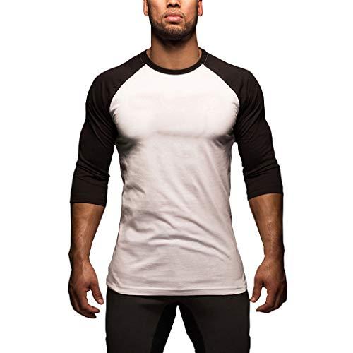 - ASOBIMONO Men's Casual Raglan Fit Baseball Jersey T-Shirts Crewneck 3/4 Sleeve Tops Summer Slim Blouse Basic Tees Black